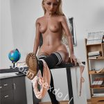 Realistic Sex Doll With Blonde Hair And Skin In Campus Costume