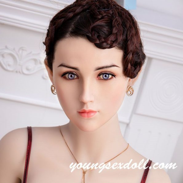 Lady With Brown Hair And White Face Sex Doll Head