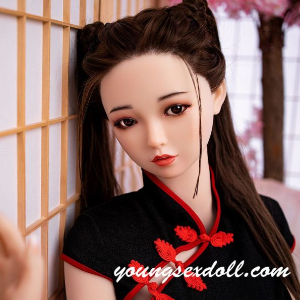 Antique Brown Long Hair And White Face Sex Doll Head