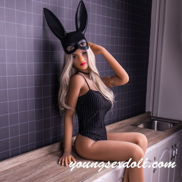 168cm Sexy White Haired Small Breasted Bunny Girl Black Sex Doll