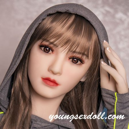 Delicate Brown Hair And White Face Sex Doll Head