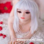 68cm Petite Cute White Long Hair Mini Sex Doll