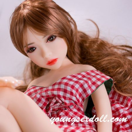 88cm Petite And Beautiful Brown Long Curly Hair Mini Sex Doll