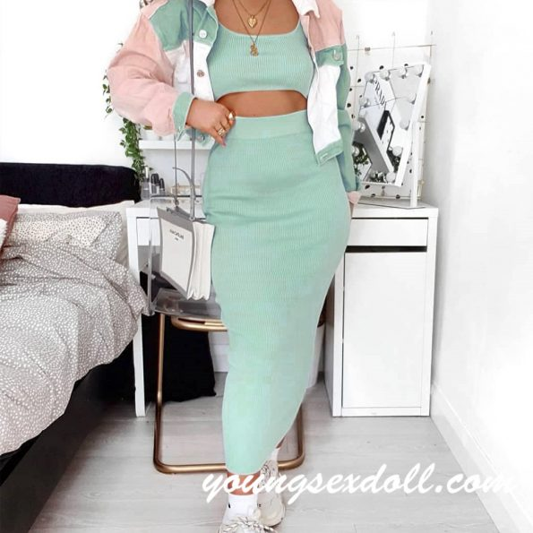 Knitted Vest Dress Green Sex Doll Clothes