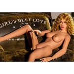 162cm Blonde Curly Hair Small Breast Big Cock Shemale Sex Doll