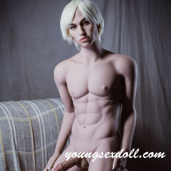 170cm White Haired Abdominal Big Cock Handsome Male Sex Doll