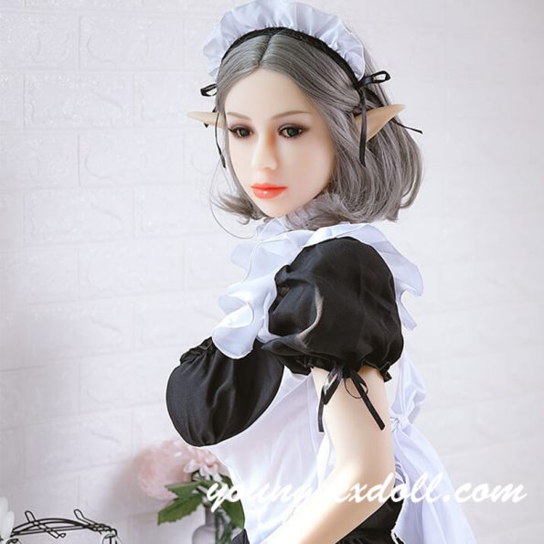 158cm Maid With Short Gray Hair And Big Breasts Beautiful Elf Sex Doll